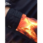 best Flame Print Slim Long Sleeve Shirt