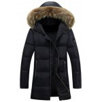 Faux Fur Collar Hooded Lengthen Zip-Up Padded Coat