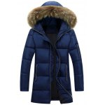 Buy Faux Fur Collar Hooded Lengthen Zip-Up Padded Coat M
