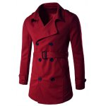Button Tab Cuff Epaulet Design Belted Trench Coat