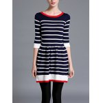 cheap Striped Knitted Flare Dress