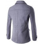 cheap Double Breasted Spliced Wool Blend Coat