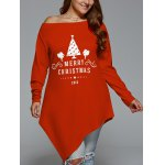 cheap Plus Size Merry Christmas Print Asymmetric Top