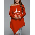 Plus Size Merry Christmas Print Asymmetric Top deal