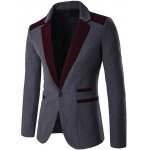 Color Block Single Breasted Wool Blend Blazer