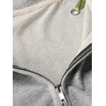 Front Pocket Ribbon Lace-Up Zipper Hoodie deal
