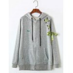 Front Pocket Ribbon Lace-Up Zipper Hoodie
