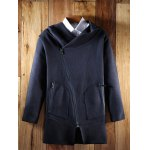 Hooded Oblique Zipper Design Lengthen Knit Blends Cardigan deal