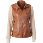 Zipper Embellished Faux Leather Insert Jacket for sale