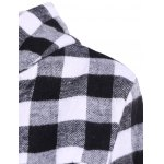 Plaid Pocket Design Buttoned Hoodie deal