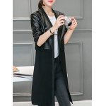 Leather Panel Long Collarless Coat deal