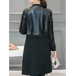 Leather Panel Long Collarless Coat for sale