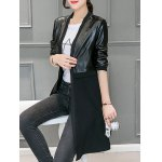 cheap Leather Panel Long Collarless Coat