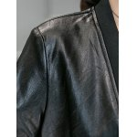 best Leather Panel Long Collarless Coat