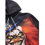 Hooded 3D Clown Moon Star Print Halloween Hoodie deal