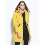 cheap Belted Hooded Zipper Design Coat