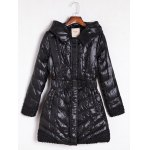 Belted Hooded Quilted Coat
