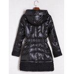 cheap Belted Hooded Quilted Coat