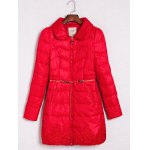 Embroidered Quilted Coat with Peter Pan Collar