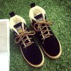 Suede Lace-Up Faux Shearling Short Boots for sale