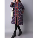cheap Flower Print Frog Button Quilted Coat