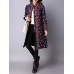 Flower Print Frog Button Quilted Coat deal