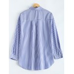 cheap High-Low Striped Embroidered Shirt