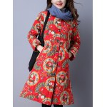 cheap Floral Print Longline Quilted Coat