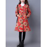 Floral Print Longline Quilted Coat for sale