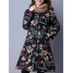 cheap Flower Print Buttoned Quilted Coat