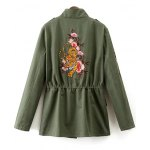 cheap Stand Neck Tiger Embroidered Military Jacket