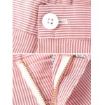 Zipper Fly Vertical Striped Print Straight Leg Shorts deal