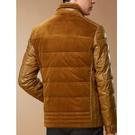 PU-Leather and Corduroy Spliced Zip-Up Down Jacket deal