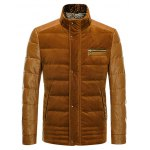 PU-Leather and Corduroy Spliced Zip-Up Down Jacket for sale