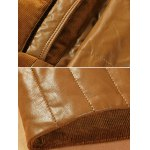 PU-Leather and Corduroy Spliced Zip-Up Down Jacket photo