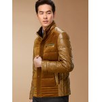 cheap PU-Leather and Corduroy Spliced Zip-Up Down Jacket