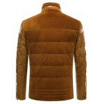 best PU-Leather and Corduroy Spliced Zip-Up Down Jacket