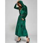 Hooded Pockets Velvet Long Coat for sale