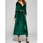 cheap Hooded Pockets Velvet Long Coat
