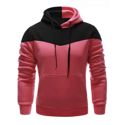 Classic Color Block Front Pocket Hooded Long Sleeves Hoodie For Men