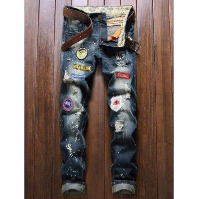 Patch Design Ripped Jeans