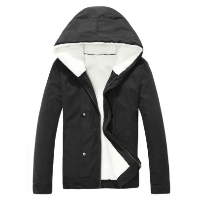 Plush Inside Snap Button Zip Up Hooded Coat