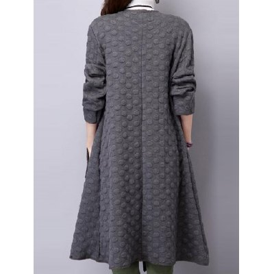 Circle Pattern Twin Pockets Duster Coat
