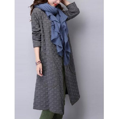 Collarless Open Front Duster Coat
