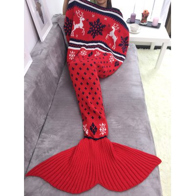 Knitted Christmas Mermaid Blanket