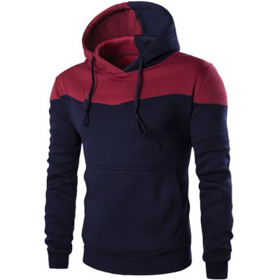 Contrast Color Pullover Hoodie