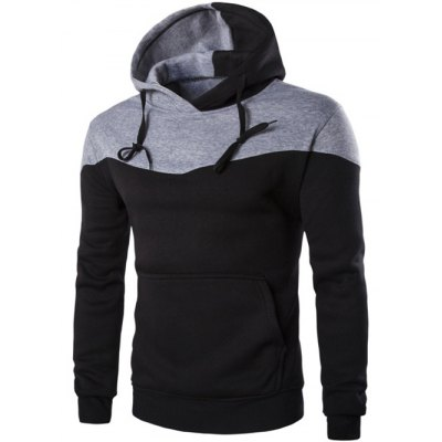Contrast Color Drawstring Pullover Hoodie
