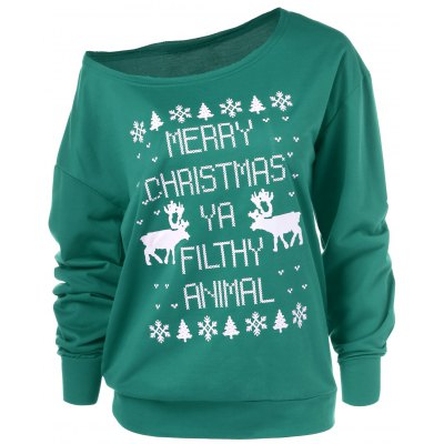Merry Christmas Pullover Skew Neck Sweatshirt