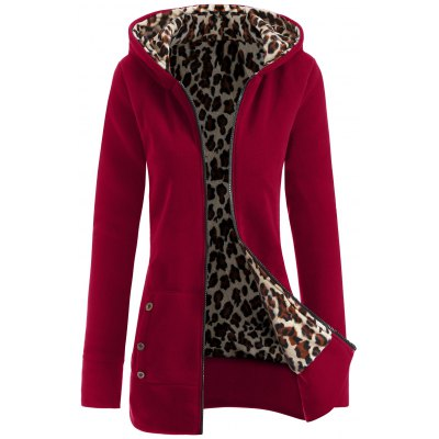 Thick Leopard Printed Inside Hoodie