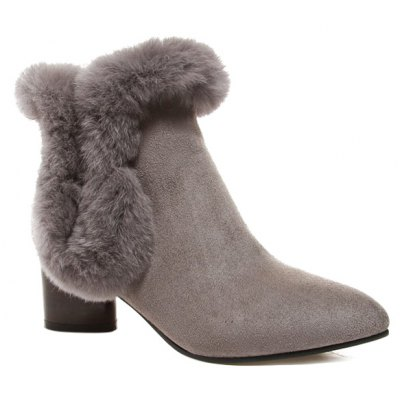 Zipper Faux Fur Pointed Toe Ankle Boots